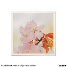 Pink sakura flowers napkin