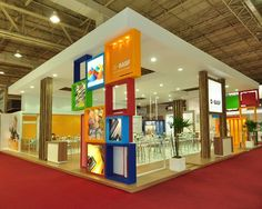 Pop of color! Great use of color and shapes for this  #booth.