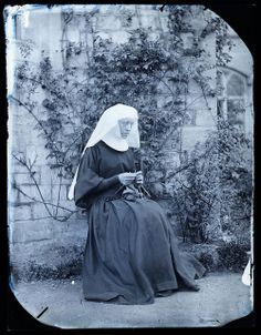 Early image of a nun knitting, ca. no later than 1890.