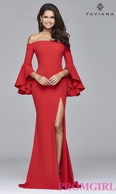 Off-the-Shoulder Prom Dress with Sleeves