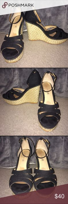 ALDO Wedges Great condition other than the bottoms look worn and the stitching in the front of the left shoe comes out a tiny bit (shows in pictures) Aldo Shoes Wedges