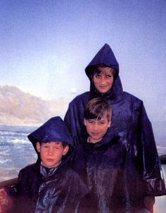 Prince Harry, Prince William, and Diana, Princess of Wales on the Maid of the Mist, October 26, 1991.