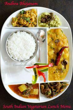 Enjoy this South Indian Vegetarian Lunch Menu with Andhra recipes like dosakaya pachadi, tomato pappu, sorakaya koora, mushroom fry & Mukkala Pulusu. Dinner Recipes Easy Quick, Lunch Recipes, Cooking Recipes, Yummy Recipes, Vegetarian Recipes Lentils, Vegetarian Lunch, Andhra Recipes, Indian Food Recipes, Bread Roll Recipe Indian