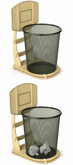 Wooden Basketball Stand  Wastebasket