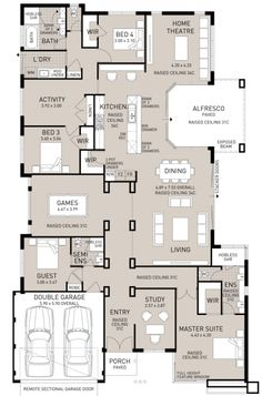 """It has an """"activity room."""" This floor plan has everything the growing family could ever need or want! 4 bedrooms, 3 bathrooms, 4 living/activity areas and a study! There are so many living areas in this home you would never be on top of one another. New House Plans, Dream House Plans, House Floor Plans, My Dream Home, Dream Houses, Bathroom Floor Plans, The Plan, How To Plan, House Blueprints"""