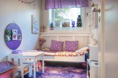 colorful kids room with purple