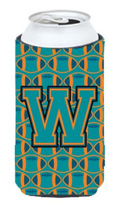 Letter W Football Aqua - Orange and Marine Blue Tall Boy Beverage Insulator Hugger CJ1063-WTBC #artwork #artworks