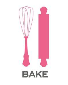Art for Kitchen - Baking Basics - 8.5x11 Print - Digital Illustration Poster - Kitchen Art. $16.00, via Etsy.