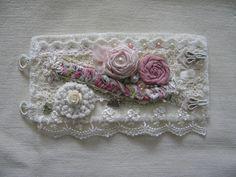 Handmade Fabric Cuff Bracelet,Textile Cuff, Shabby Chic Victorian Bracelet, Fabric Roses, Beige lace, Flowers, Assemblage Bracelet, OOAK by GracefulPetalsbyDeb on Etsy