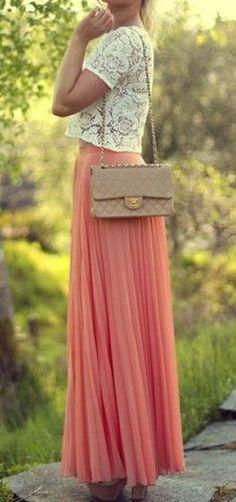 Coral Maxi + Lace Blouse <3