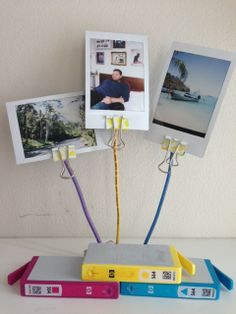 Polaroid picture holder made from recycled ink cartridges Diy Cleaners, Cleaners Homemade, Household Cleaning Tips, Cleaning Hacks, Printer Ink Cartridges, Picture Holders, Look What I Made, Polaroid Pictures, Laundry Hacks