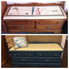 My Lane cedar chest repurpose with Annie Sloan. Cedar Chest Redo, Dresser Repurposed, Annie Sloan, Hope Chest, Furniture Makeover, Storage Chest, Beach House, Home Improvement, Projects To Try