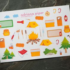 Camping Collection Stickers  for Erin Condren Life Planner, Plum Paper Planner, Filofax, Kikki K, Calendar or Scrapbook - pinned by pin4etsy.com