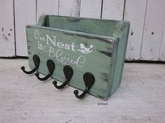 Our Nest Is Blessed - Mail Holder, Key Holder, Key Hanger, Wooden Sign, Home Decor, Wall Hanging-Rustic and Distressed