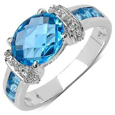 2.70 ct. t.w. Swiss Blue Topaz and White Topaz Ring in Sterling Silver -