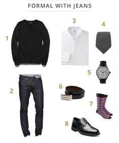 Whether a movie premiere or a typical business casual event, take a page from Daniel Craig's book with this versatile style. A Uniqlo slim fit white button-down shirt, gray chambray tie, and Forever 21 v-neck sweater provide the class, but the dark GAP skinny jeans provide a casual side. #mensfashion #menswear #DanielCraig