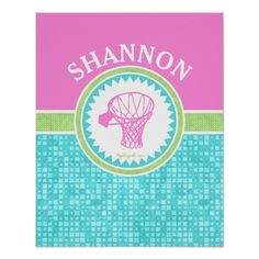 Golly Girls Tri-Pastel Color Basketball With Aqua Tile Poster