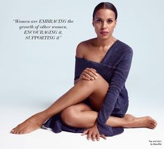 Posing barefoot, Kerry Washington wears Beaufille top and skirt