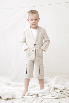 Boys natural linen shorts Boys Cargo shorts Toddler от mimiikids, $36.00