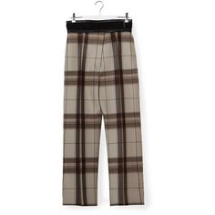Céline Plaid Pants ($1,595) ❤ liked on Polyvore featuring pants, brown, silk trousers, silk pants, tartan pants, brown trousers and tartan plaid pants