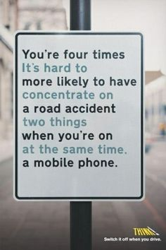 The key message is shown with a slightly darker font to attract viewers to the statistic and underneath show in a lighter text the resoning behind the advert. Think campaigns try to get the viewer to take their time and read the message as the more time someone views your advert the more memorable it may become.