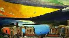 Csontváry Kosztka, Tivadar Ruins of the Ancient Greek Theatre at Taormina Ancient Greek Theatre, Post Impressionism, Artist Painting, Oeuvre D'art, Art School, Canvas, Travel, Paintings, Image