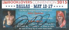 RT Booklovers Convention 2015 via Dallas, TX. Featured Cover Model John Quinlan with Author Khloe Wren Scheduled to Appear @ Club RT Friday May 15th at 2:30pm & @ RT Roundup Sunday May 17th from 10am -3pm #JohnQuinlan #RtDallas2015