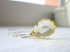 Lg  Natural Citrine Pendant  Sterling or Gold by JustDangles, $19.00