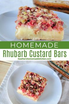 Rhubarb Custard Bars, Custard Desserts, Custard Recipes, Rhubarb Rhubarb, Rhubarb Plants, Custard Filling, Ruhbarb Recipes, Fruit Recipes, Cooking Recipes