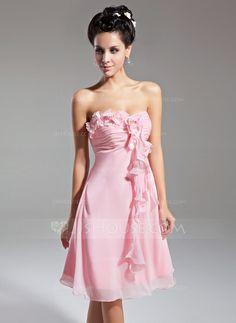 Empire Sweetheart Knee-Length Chiffon Homecoming Dress With Ruffle Flower(s)