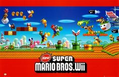 Super Mario Bros. Wii Ninetendo Game 22x34 POSTER Poster Print, 34x22