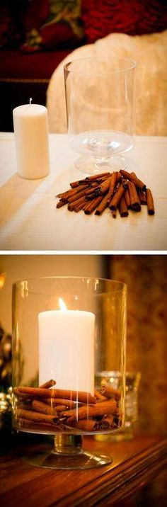Candle DIY Cinnamon Candle in an apothecary jar. Easy idea for a great home smellDIY Cinnamon Candle in an apothecary jar. Easy idea for a great home smell Fall Crafts, Holiday Crafts, Holiday Fun, Diy Crafts, Festive, Leaf Crafts, Holiday Ideas, Noel Christmas, Christmas Candles