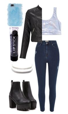 """""""Furry Phone Case + Holographic Crop Top"""" by angels-and-ametrines ❤ liked on Polyvore featuring Victoria's Secret PINK, River Island, Lipsy, Charlotte Russe and Skinnydip"""