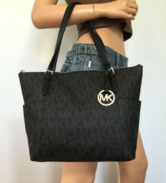 NWT MICHAEL KORS BLACK PVC JET SET EW MK SIGNATURE TOTE SHOULDER BAG PURSE #MichaelKors #ShoulderBag