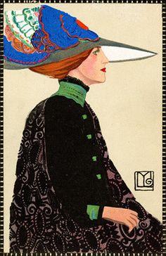 Wiener Werkstatte - Hat Fashion Klimt, Moda Fashion, Fashion Art, Vintage Fashion, Edwardian Fashion, Vintage Vogue, Charles Rennie Mackintosh, Alphonse Mucha, Moda Vintage
