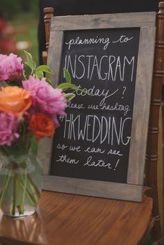 Everyone needs this!  Instragram hashtag for wedding photos - Colourful Rustic Farm Wedding: Hannah  Kristie