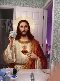 Bathroom Selfie Jesus :: from my personal jesus series