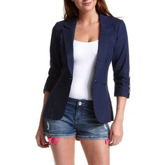 Tab-Sleeve Linen Blazer ❤ liked on Polyvore