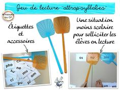 Pour l'APC, ou des petits ateliers d'entraînement à la mise en lien grapho-phonétique, un jeu tout simple, qui va séduire les récalcitrants à la lecture - Mitsouko au CP Read In French, French Resources, Craft Online, Funny Slogans, School Games, Practical Gifts, Apc, Teaching Reading, Special Education
