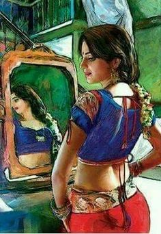 Punjabi Artwork of a beautiful Indian women seeing herself on the mirror.India/Pakistan art by Imran Zaib Indian Artwork, Indian Folk Art, Indian Art Paintings, Indian Artist, Pakistan Art, Indian Women Painting, Music Drawings, India Art, Beauty Art