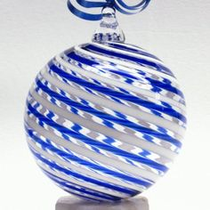 cobalt blue & white cane glass ornament