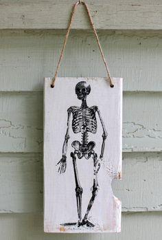 Halloween Wood Sign Skeleton Vintage Style Rustic Door Wall Hanging Wooden Inside Outside Decor Art $11