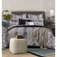 This all-cotton luxurious snake print sheet set will bring fashion-forward, dynamic style to your bedroom in soft neutral and bold hues. Woven of 300 thread count Egyptian cotton sateen, the set features tailored pillow covers for distinctive look.