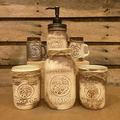 6 Piece Vintage Golden Harvest Ivory and Taupe Mason Jar Kitchen Set with Mason Kitchen Utensil Holders, Bronze Mason Jar Soap Dispenser, and Mason Jar Salt and Pepper Shaker Set Check It Out Now     $65.00    Vintage Golden Harvest Mason Jar Canisters, Salt and Pepper Shaker and Soap Dispenser Set in distressed creamy Ivory  ..  http://www.handmadeaccessories.top/2017/04/01/6-piece-vintage-golden-harvest-ivory-and-taupe-mason-jar-kitchen-set-with-mason-kitchen-utensil-holders-..