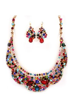 Collier Crystal Statement Necklace Set