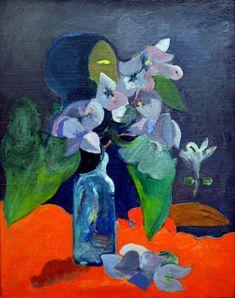 Гоген Натюрморт с цветами и идолом