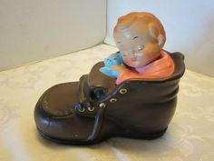 Vintage shoe boot bank w/ baby & cat paper Mache hand painted Japan Dee Bee Co. #DeeBeeCo