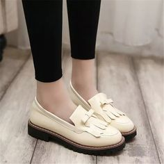 US $13.99 Fringe Block Heels Moccasins Loafers Boat Shoes Women's Faux Leather Beige