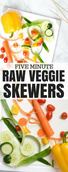 eat the rainbow - whether you're entertaining or trying to get your toddler to eat vegetables, these raw veggie skewers are easy and tasty (and the recipe includes a grilled option too) Healthy Veggie Snacks, Vegetable Snacks, Savory Snacks, Vegetable Recipes, Healthy Eating, Vegetable Skewers, Veggie Skewers, Skewer Appetizers, Appetizer Recipes