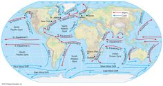 Plate tectonics and ocean currents - gmhs rshorey Earth Science Lessons, Earth And Space Science, Weather Science, Weather And Climate, Ocean Currents Map, World Geography Map, Ocean Lesson Plans, Major Oceans, Solar System Exploration